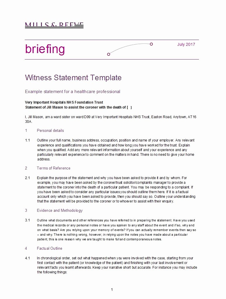 Sample Witness Statement form New 50 Professional Witness Statement forms & Templates