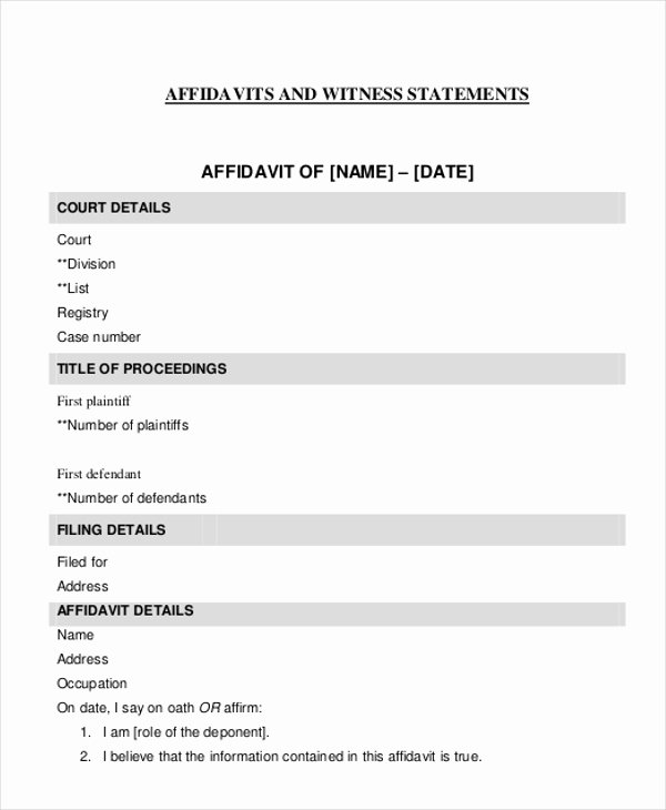 Sample Witness Statement form New Sample Witness Affidavit form 8 Free Documents In Pdf Doc