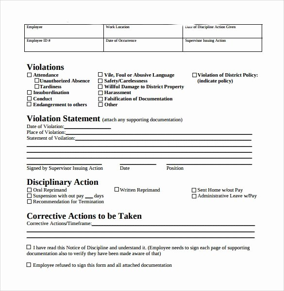 Sample Write Up for Employee Beautiful Free Employee Write Up form Printable