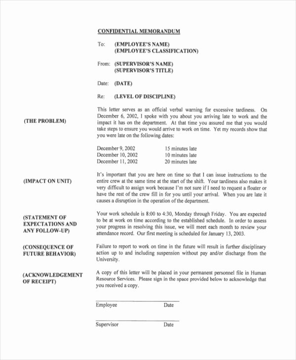 Sample Write Up for Employee Unique Free 8 Sample Employee Write Up forms In Pdf