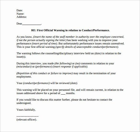 Sample Written Warning Letter Best Of 11 Written Warning Templates Pdf