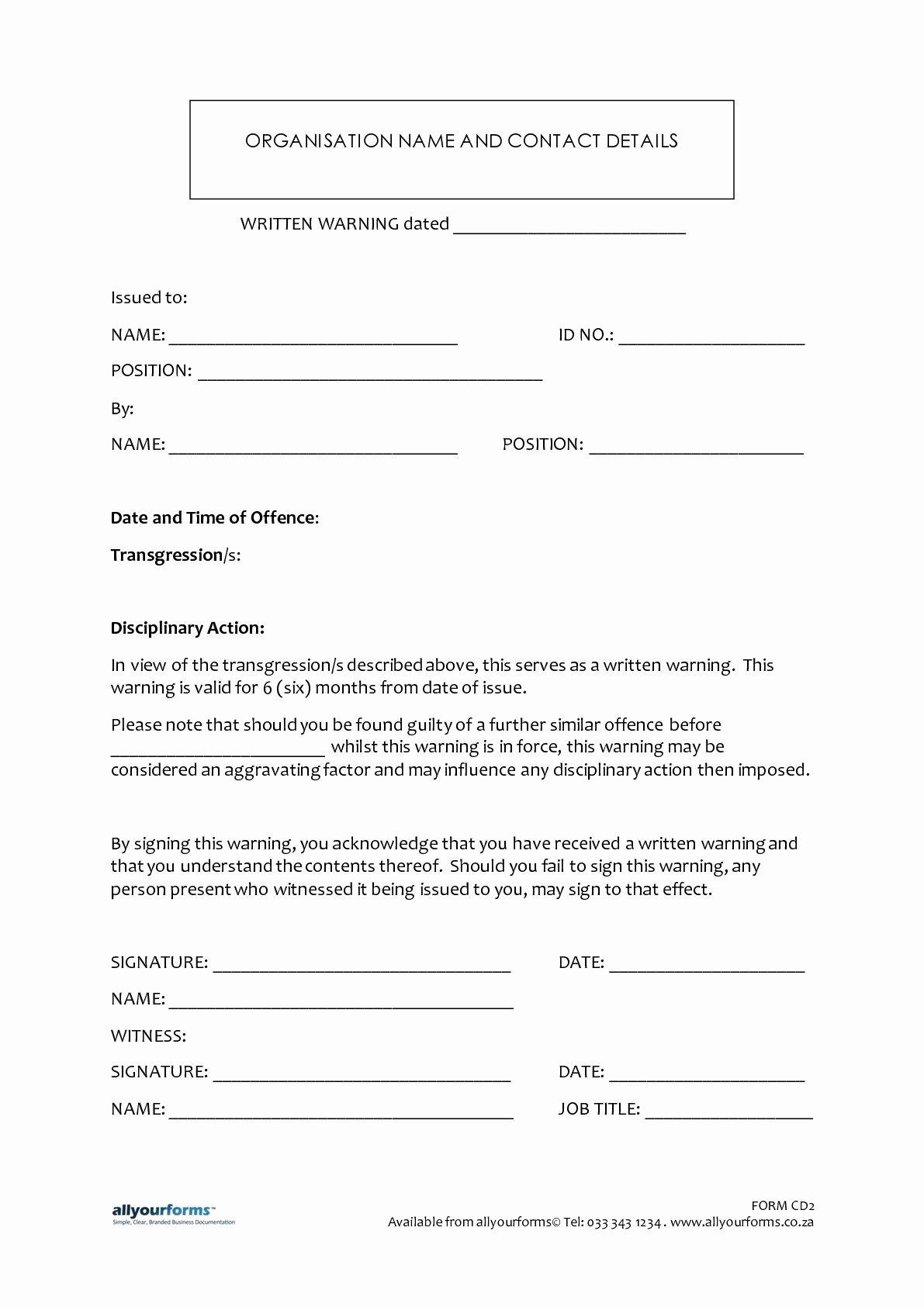 Sample Written Warning Letter Best Of Sample Written Warning Letter to Employee