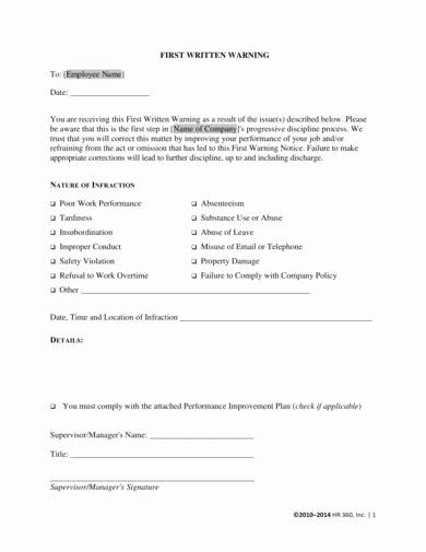 Sample Written Warning Letter Elegant 9 Warning Letter for Bad Behavior Samples Pdf Word