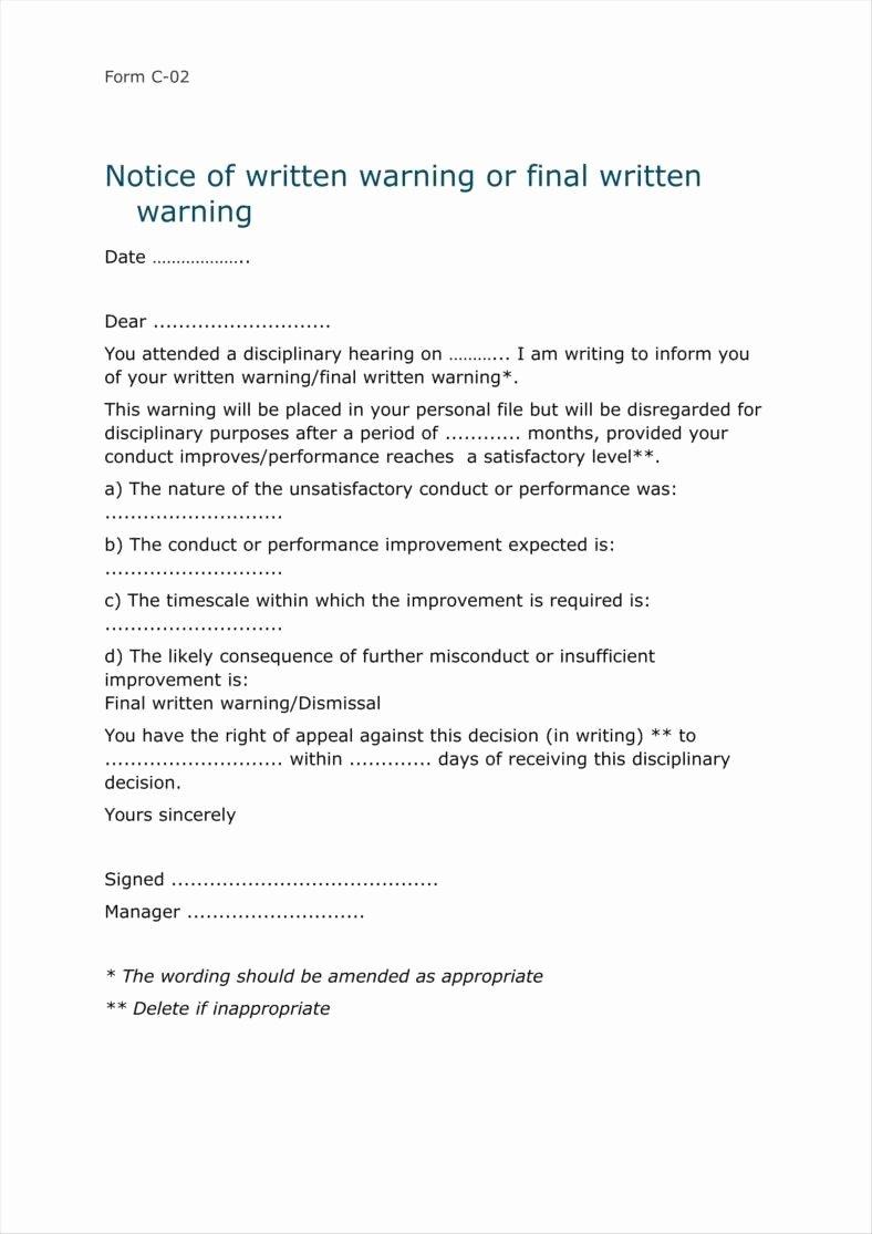 Sample Written Warning Letter Luxury 8 Sample Final Warning Letters Free Samples Examples