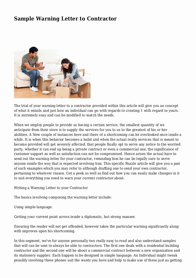 Sample Written Warning Letter Luxury Sample Warning Letter to Contractor