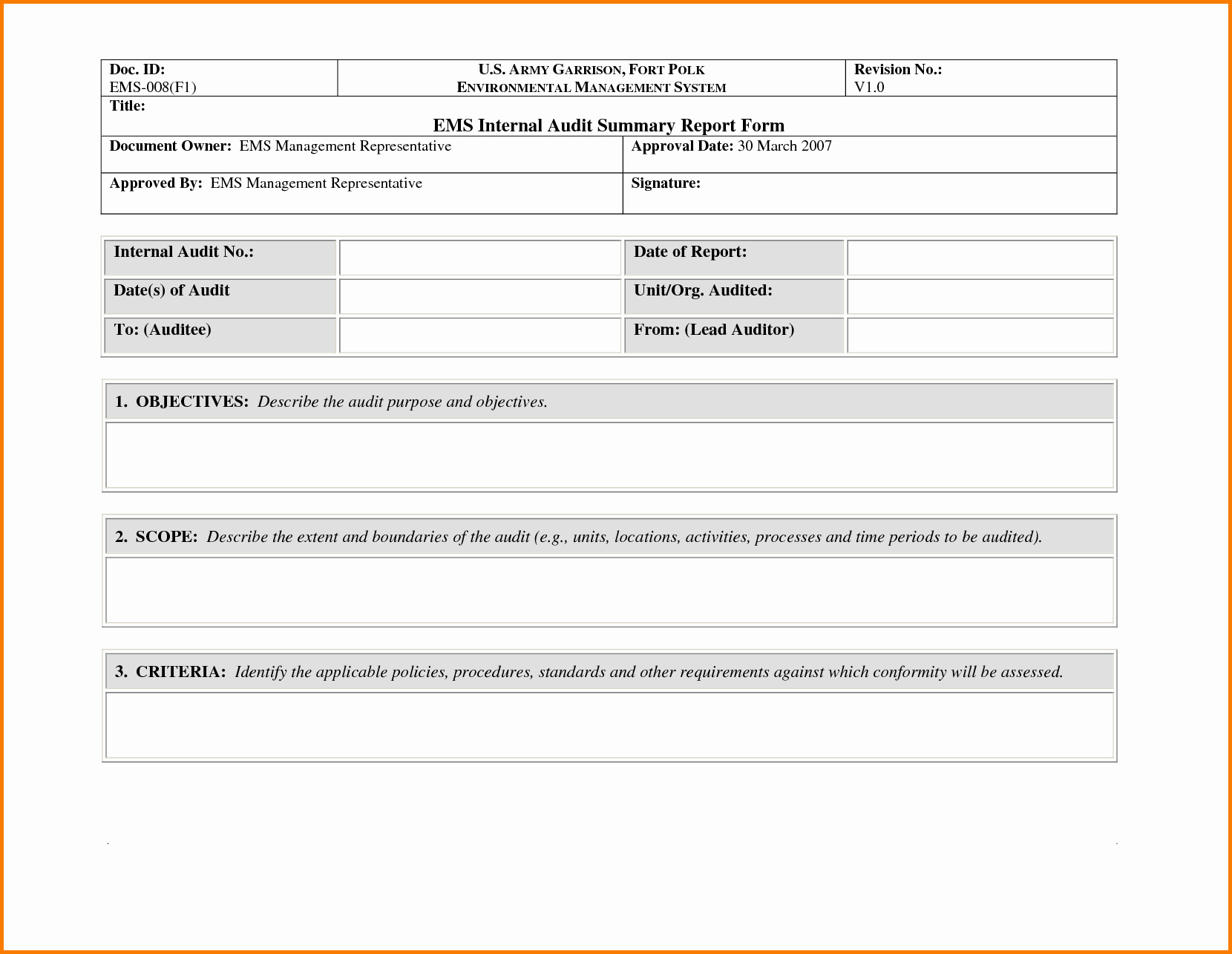 Samples Of Audit Report Elegant 35 Excellent Audit Report form Template Examples Thogati