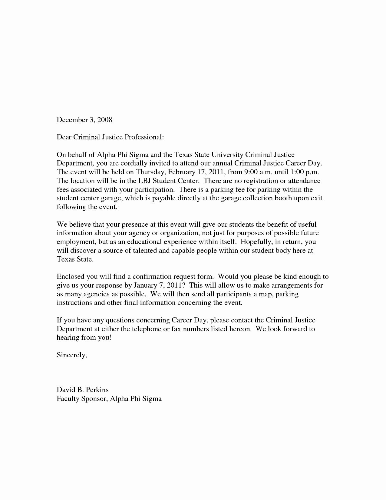Samples Of Invitation Letters Awesome Sample Career Day Invitation Letter School Yolanda