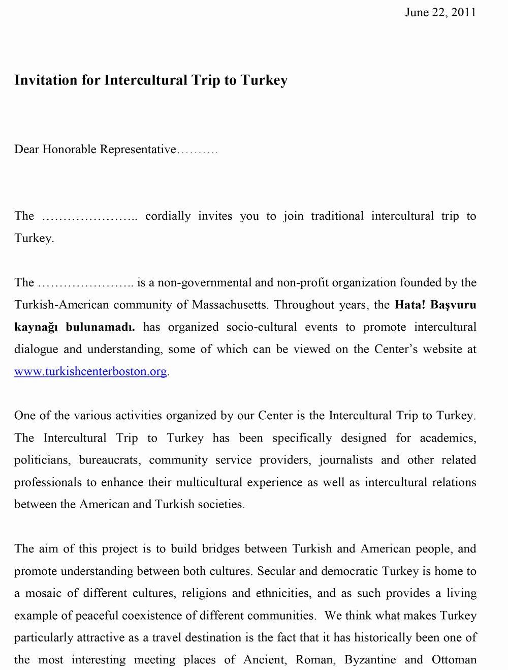 Samples Of Invitation Letters Fresh Sample Invitation Letter to Turkey Trip