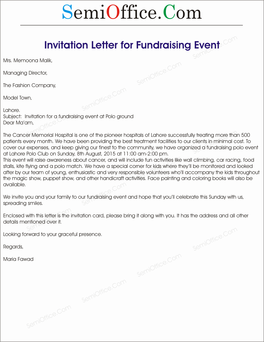 Samples Of Invitation Letters Luxury Fundraising event Invitation Letter Sample