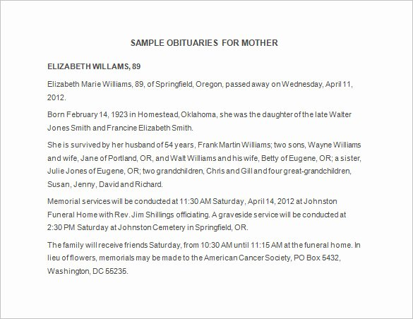 Samples Of Obituaries for Mother Elegant Obituary Template 21 Free Blank Obituary Templates Word