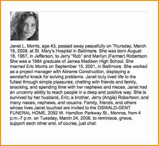 Samples Of Obituaries for Mother Luxury Sample Obituary for Mother