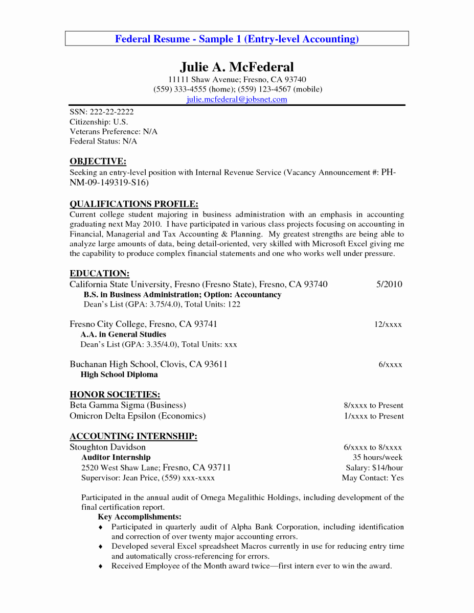 Samples Of Objective On Resume Elegant 14 Entry Level Accounting Resume Objective