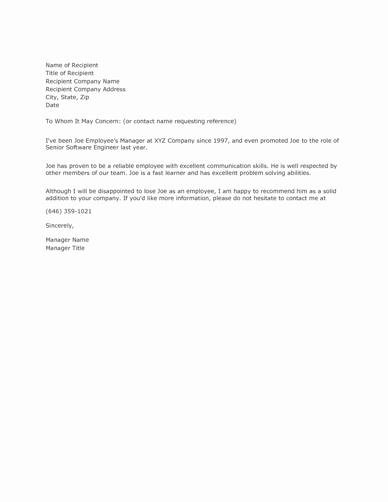 Samples Of Reference Letters Lovely Writing A Reference Letter Example Samplebusinessresume