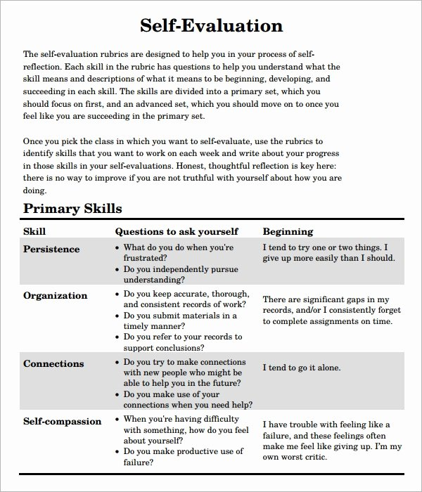 Samples Of Self Evaluations Elegant Free 7 Sample Self Evaluation Templates In Pdf