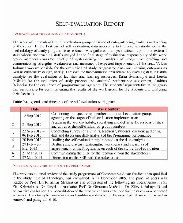 Samples Of Self Evaluations Fresh Free 8 Sample Employee Self Evaluation forms In Pdf