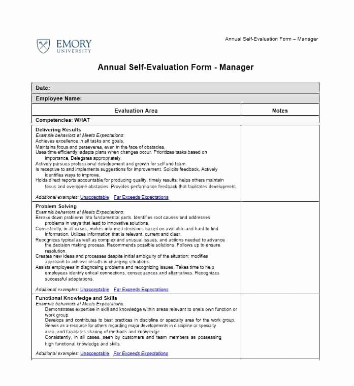 Samples Of Self Evaluations Inspirational 50 Self Evaluation Examples forms & Questions Template Lab