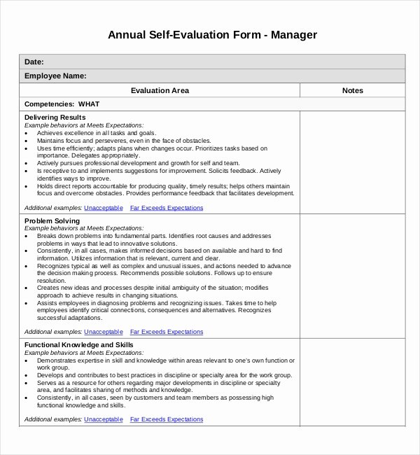 Samples Of Self Evaluations New Free 11 Sample Self Evaluation forms In Pdf