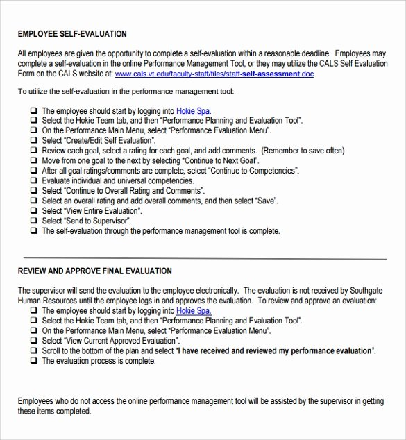 Samples Of Self Evaluations New Free 14 Sample Employee Self Evaluation form In Pdf