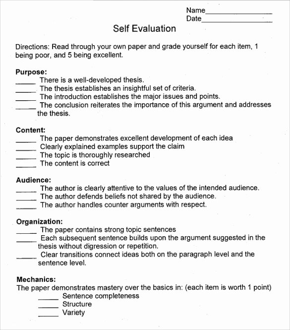 Samples Of Self Evaluations Unique Free 14 Sample Employee Self Evaluation form In Pdf