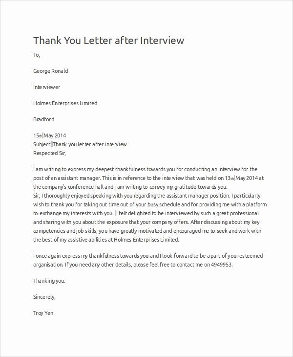 Samples Of Thank You Letters New Sample Interview Thank You Letter 10 Examples In Word Pdf