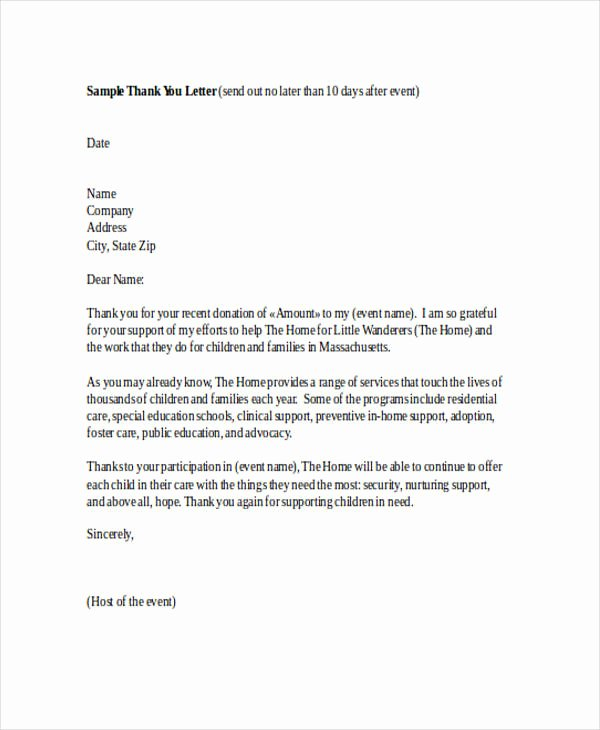 Samples Of Thankyou Letters Inspirational Free 74 Thank You Letter Examples In Doc Pdf