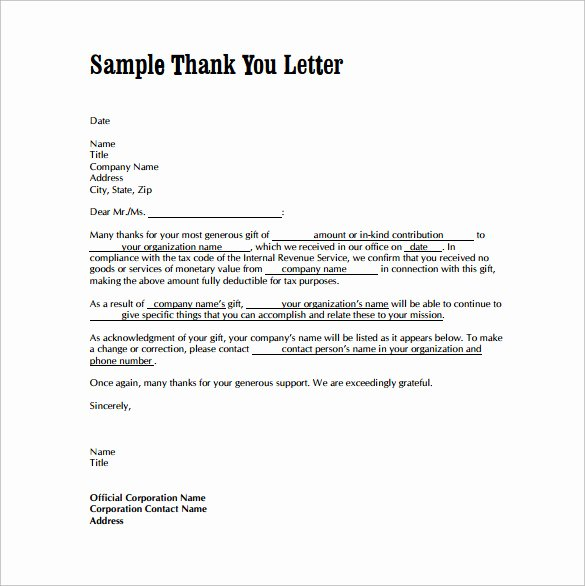 Samples Of Thankyou Letters Unique Free 9 Sample Thank You Letters for Gifts In Doc
