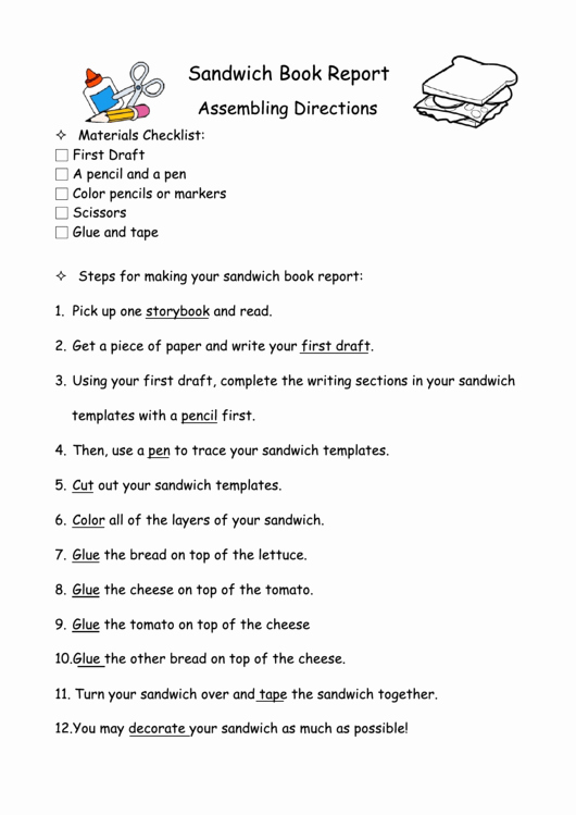 Sandwich Book Report Template Awesome Sandwich Book Report Directions and Template Printable