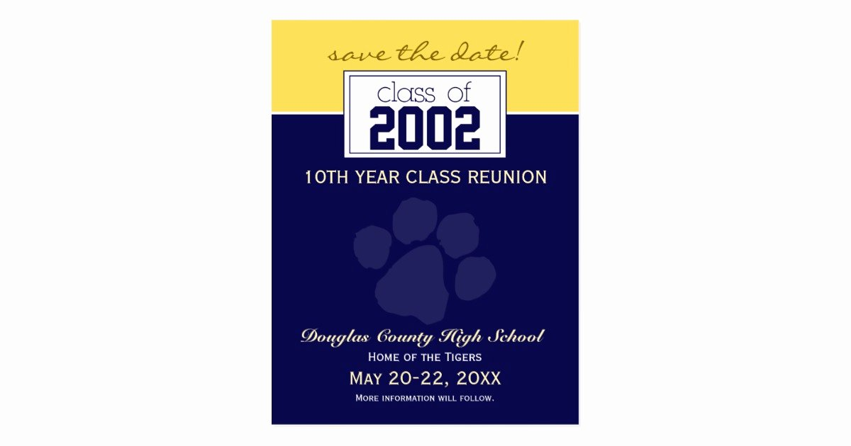 Save the Date Class Reunion Awesome Class Reunion Save the Date Announcement Blue Postcard