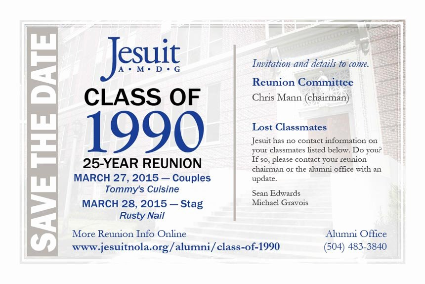 Save the Date Class Reunion Beautiful Class Of 1990 Save the Date for Your 25 Year Reunion