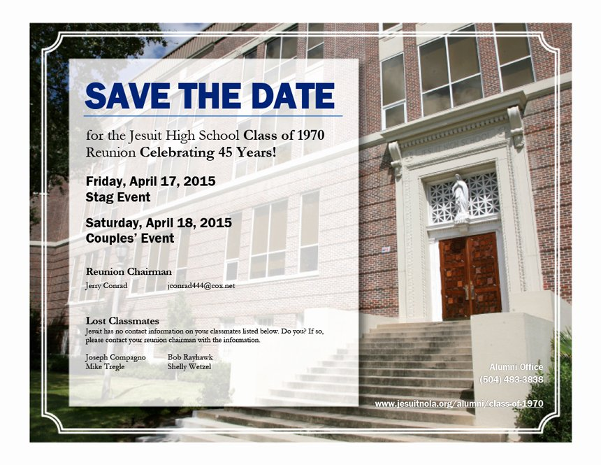 Save the Date Class Reunion Luxury Class Of 1970 Save the Date for Your 45 Year Reunion