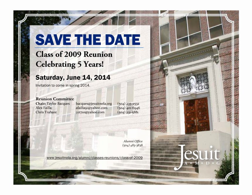 Save the Date Class Reunion Unique Class Of 2009 Save the Date for Your 5 Year Reunion