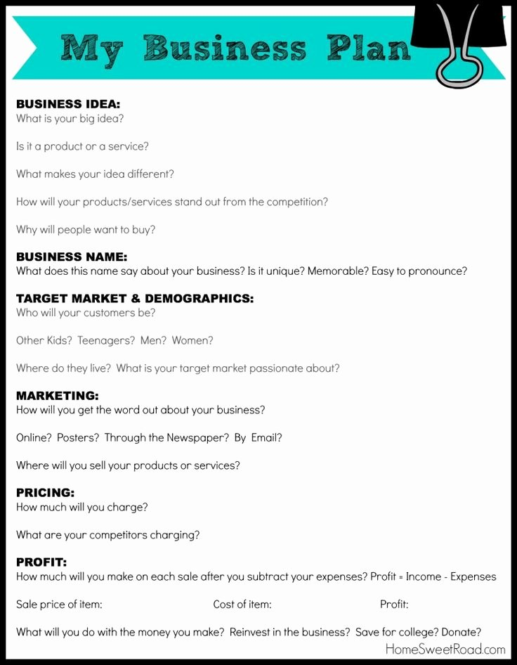 Sba Business Plan Template Best Of Business Plan Worksheet for Students
