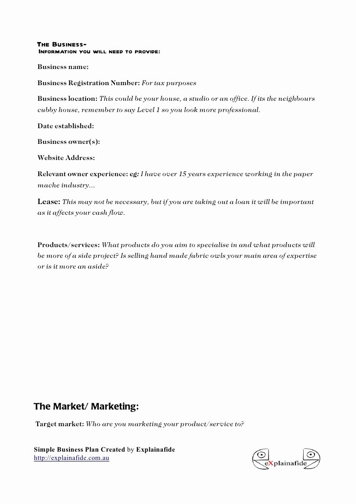 Sba Business Plan Template Unique Free Small Business Plan Template