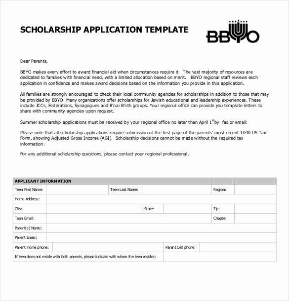 Scholarship Application Essay Sample Unique Scholarship Application Template – 10 Free Word Pdf