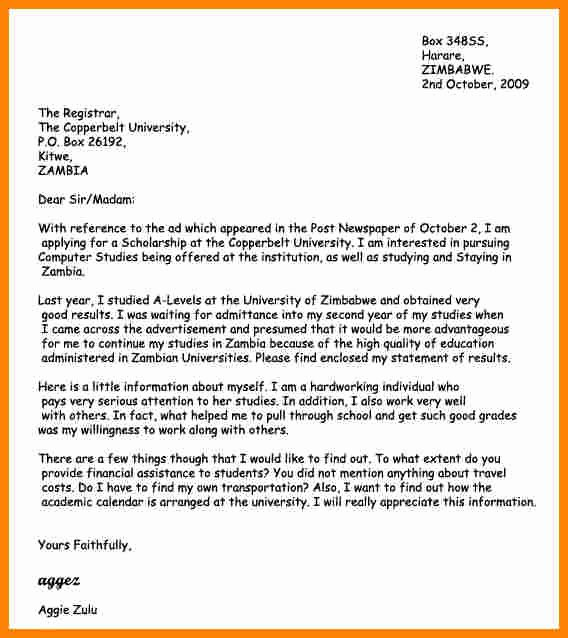 Scholarship Cover Letter Sample Awesome 4 Introduction Motivation Letter University
