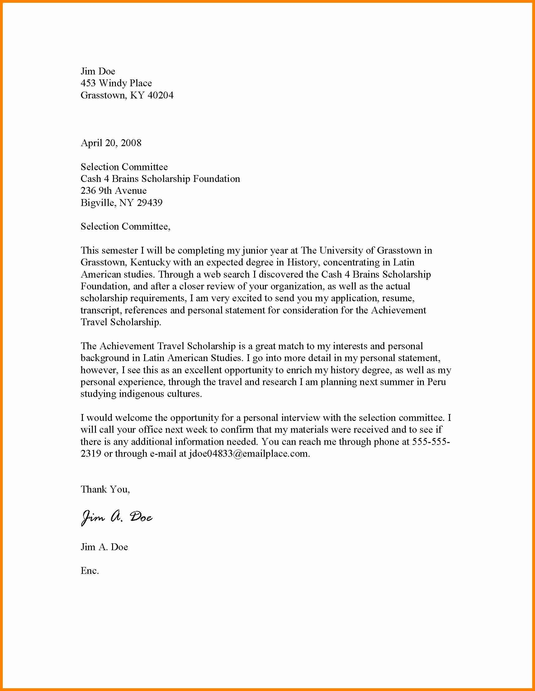 Scholarship Cover Letter Sample Best Of Scholarship Application Letter to Write How to Write