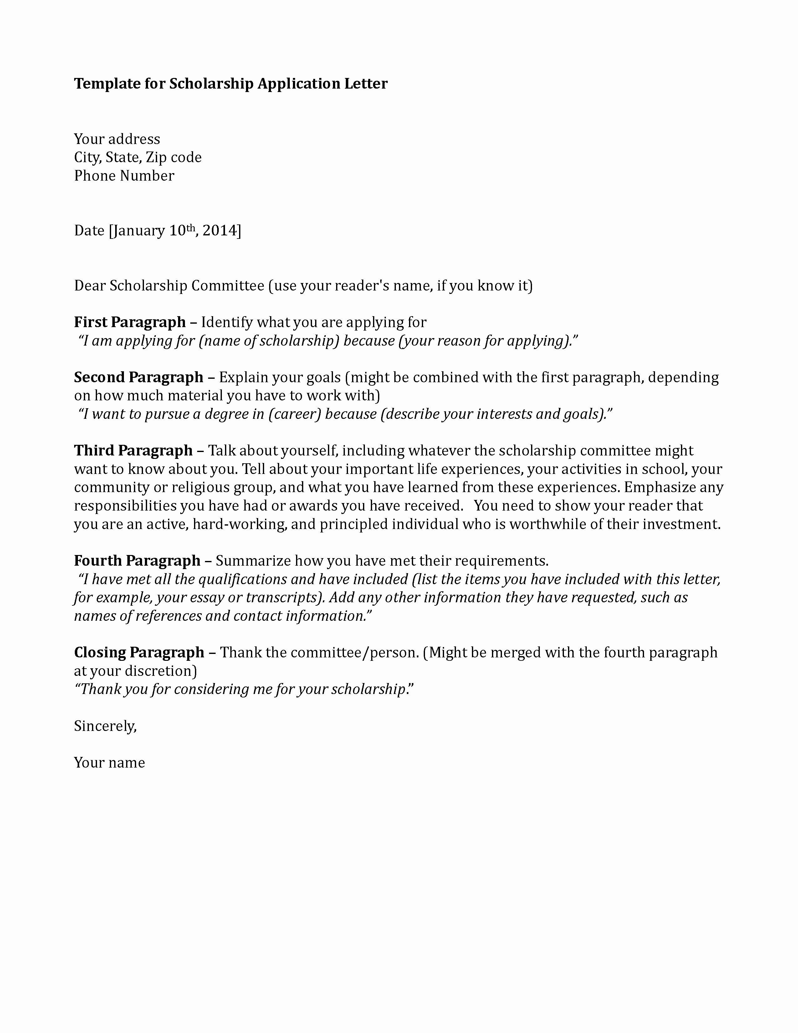 Scholarship Cover Letter Sample Elegant Scholarship Application Template Sample Application Letter