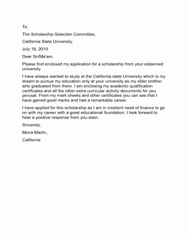 Scholarship Cover Letter Sample Elegant Scholarship Cover Letter Sample Edit Fill Sign Line