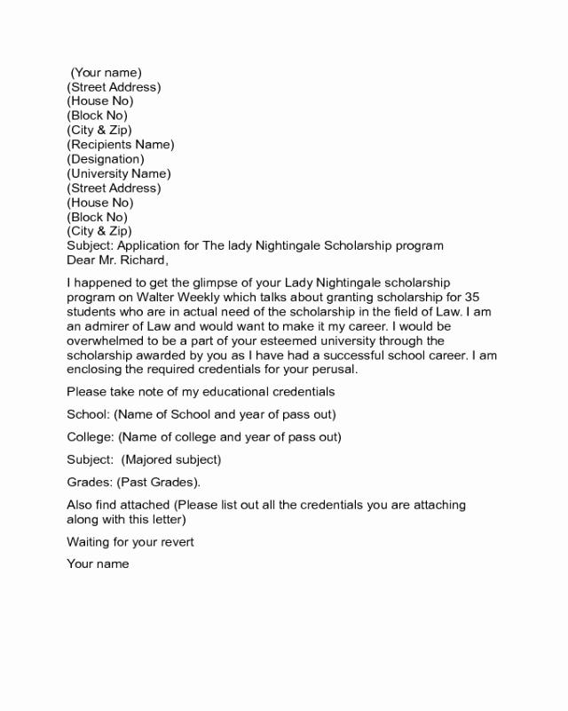 Scholarship Cover Letter Sample Fresh 2019 Scholarship Letter Templates Fillable Printable
