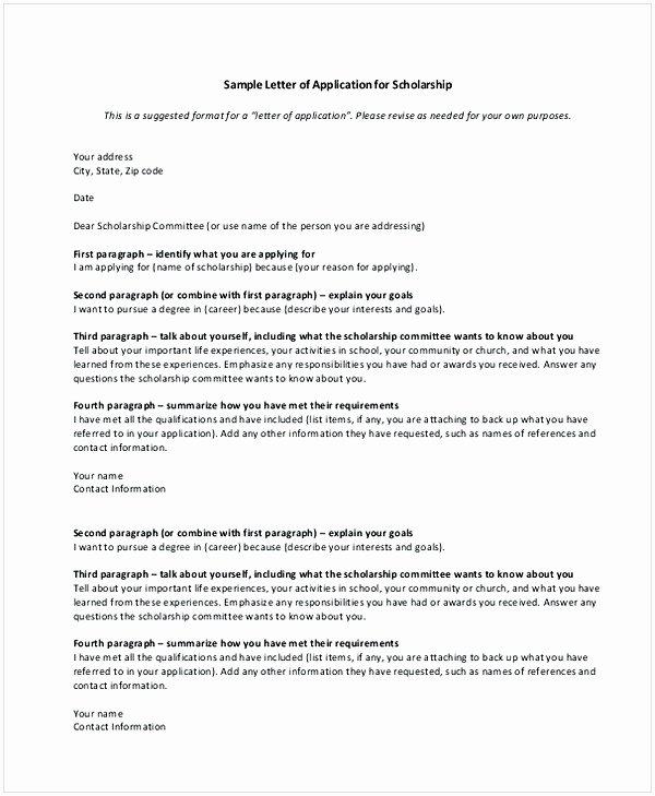 Scholarship Cover Letter Sample Luxury Scholarship Application Letter