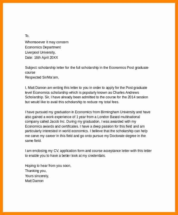 Scholarship Cover Letter Sample New 9 Examples Of Scholarship Application Letters
