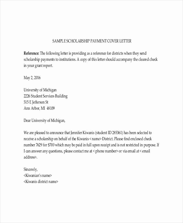 Scholarship Cover Letter Sample New Scholarship Letter Template 11 Free Sample Example