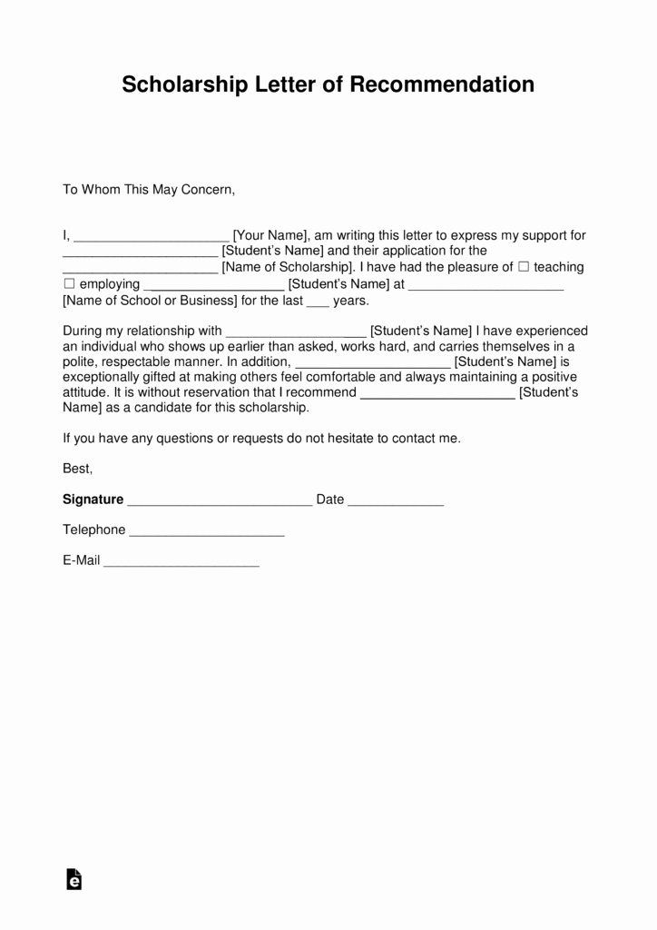 Scholarship Letter Of Recommendation Templates Best Of Free Re Mendation Letter for Scholarship Template with
