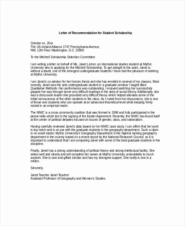 Scholarship Letter Of Recommendation Templates Elegant Scholarship Re Mendation Letter Free Sample Example