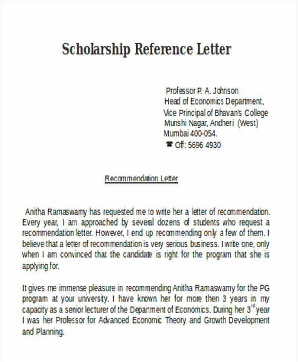 Scholarship Letter Of Recommendation Templates Elegant Scholarship Reference Letter Templates 5 Free Word Pdf