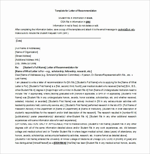 Scholarship Letter Of Recommendation Templates Fresh 27 Letters Of Re Mendation for Scholarship Pdf Doc