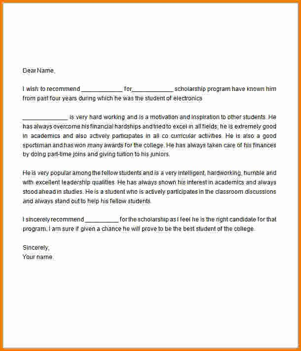 Scholarship Letter Of Recommendation Templates Lovely Letter Re Mendation for Scholarship
