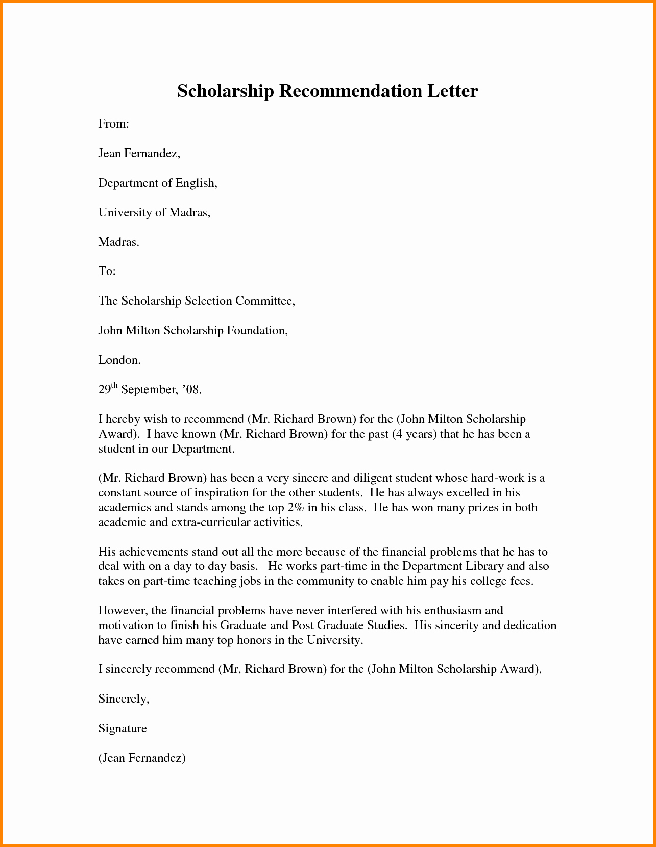 Scholarship Recommendation Letter Sample Awesome Scholarship Re Mendation Letter