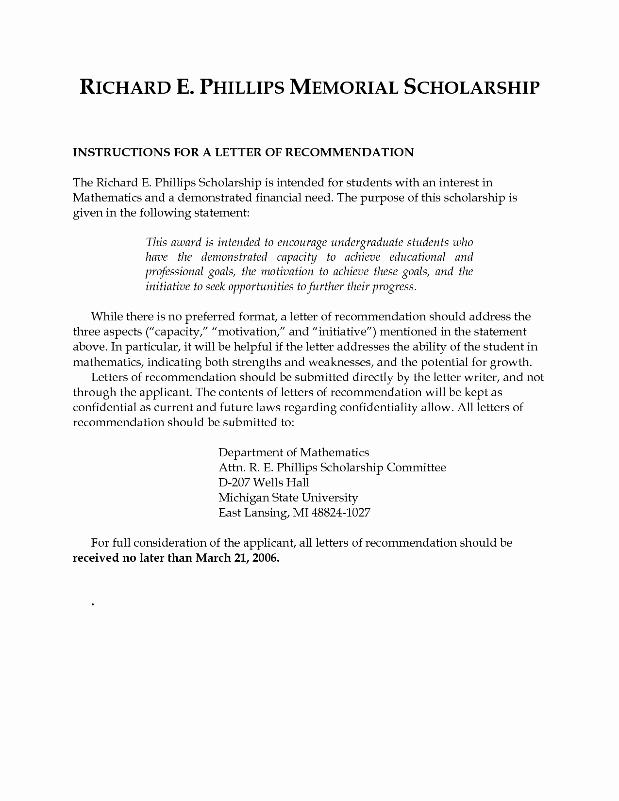 Scholarship Recommendation Letter Sample Lovely Letters Re Mendation for Scholarships