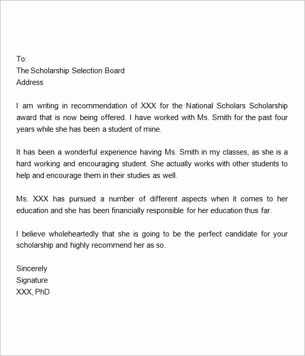 Scholarship Recommendation Letter Sample Lovely Sample Letter Of Re Mendation for Scholarship 10 Free